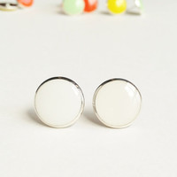 White Earrings, White Stud Earrings, White Flat Top Stud Earrings, 12 mm Stud Earrings, Ivory Stud Earrings, Resin Jewelry, For Her