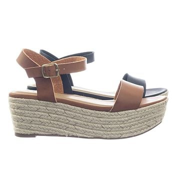 Picosa by Classified Jute Espadrille Rope Wrap Flatform Open Toe Sandal w Ankle Strap
