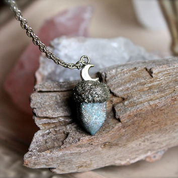 Aqua Aura Quartz Necklace - Spirit Quartz Jewelry - Crescent Moon Necklace - Crush Pyrite - Blue Crystal Necklace - Aqua Aura Spirit Quartz