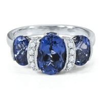 Oval Lab-Created Sapphire Ring in Sterling Silver - September - Birthstones - Jewelry - Categories - Helzberg Diamonds