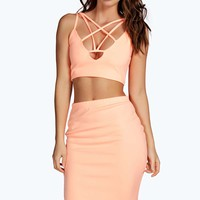Belle Strappy Plunge Front Cropped Midi Co Ord Set