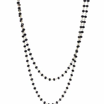 """Black  60"""" Beaded Necklace"""