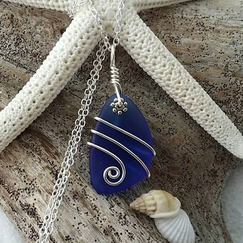 Handmade in Hawaii, Wire wrapped cobalt blue sea glass necklace, Sterling silver chain, Hawaiian jewelry. Sea glass jewelry. Gift for her.