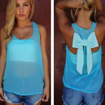 Sheer Turquoise Bow Blouse