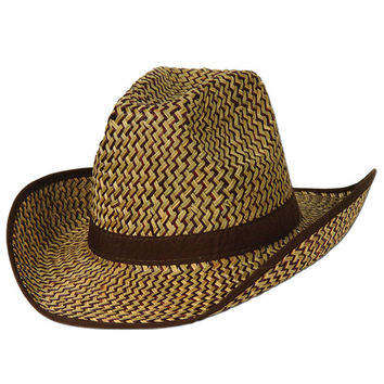 2-tone western hat with brown trim & band 60 pack Case of 60