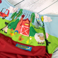Fun On The Farm, Exclusive Print, PK (Red outer, two-toned snaps- Red caps/Apple Green pieces) Wrap Around, OS Pocket DiaperInstock and ready to ship