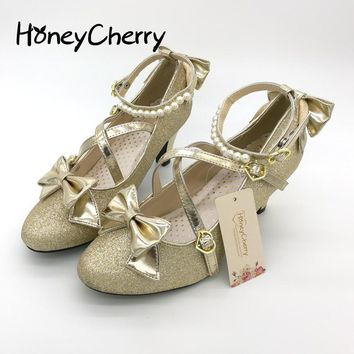 Plum small liner genuine leather cross-strap pumps Princess bow lolita shoes gold silver shoes Shining womens shoes