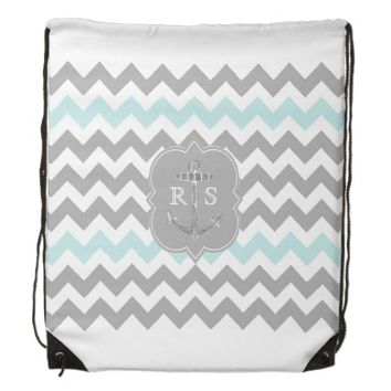 Anchor Aqua Gray Chevron Monogram String Backpack