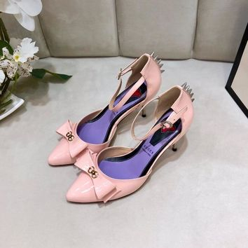 Gucci Trending Women leather Leisure Snake Bee Flower Embroidery Flats high heels slipper sandals shoe pink
