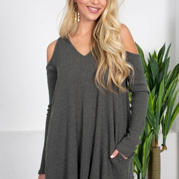 Forest Green Ribbed Autumn Dress