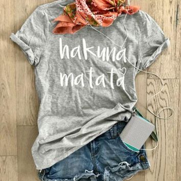 New Arrive Funny Letter Printed Tees Hakuna Matata Graphic T-Shirt O-Neck High Quality Cotton Tops Style Hipster Casual t shirt