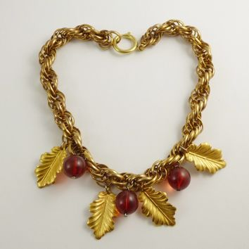 Vintage 1940's Translucent Cherry Red Bakelite Bead Leaf Dangle Necklace