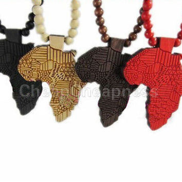 New Good Quality Hip-Hop African Map Pendant Wood Bead Rosary Necklaces Chain