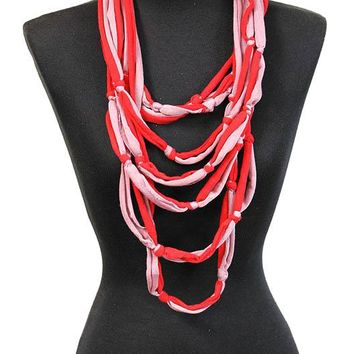 Red Multi Fabric Strand Bib Necklace And Earring Set