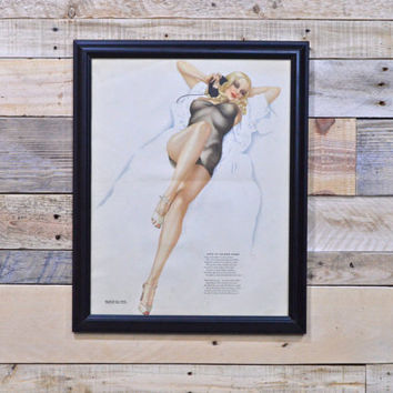 Original Pinup Girl Art, Varga For Esquire, Vintage Vargas Girl