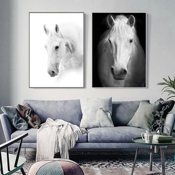 3pcs Modern Art White Horse Black and White Picture A4 Print Canvas Poster Wall Photography Photo Restaurant Decorative Painting