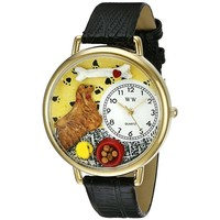 SheilaShrubs.com: Unisex Cocker Spaniel Black Skin Leather Watch G-0130027 by Whimsical Watches: Watches