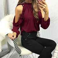Fashion Women Sexy Blouse Shirts 2018 Spring Summer Open Shoulder Ruffle Long Sleeve Ladies Tops Blouses Casual Plus Size top