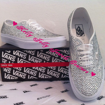 Fully covered white Vans Silver Swarovski Diamonte   Diamante Nike  Converse  Unique trendy Wedding Prom 3908e54f3