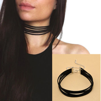 Harajuku 90's Black Velvet Choker Necklace 5 layers Goth Gothic Handmade Ribbon Collar Necklaces Retro Burlesque