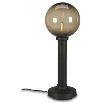 "Moonlite 35"" Outdoor Table Lamp with Black Tube Body & Bronze Globe"