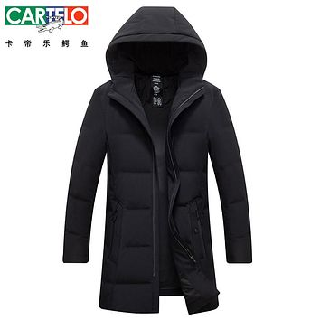 Cartelo/Brand Thick Winter Down Jacket Men Warm New Fashion Brand Clothing Top Quality Long Male 90% White Duck Down Coat