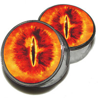 "Eye of Sauron Plugs - 1 Pair (2 plugs) - Sizes 8g to 2"" - Made to Order"