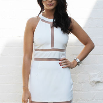 Sheer Mesh Stripe Panel Peekaboo Dress in White