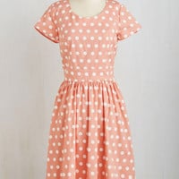 ModCloth Long Short Sleeves A-line Connect the Dotted Dress