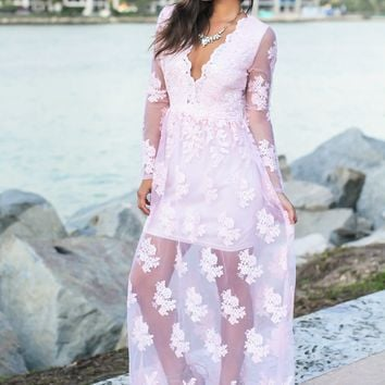 Blush Embroidered Maxi Dress with Long Sleeves