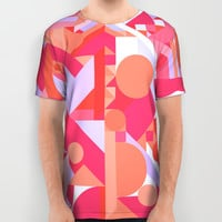 GEOMETRY SHAPES PATTERN PRINT (WARM RED LAVENDER COLOR SCHEME) All Over Print Shirt by AEJ Design