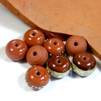 Opaque Hawaiian Clay Terracotta Orange Handmade Lampwork Glass Beads 685 Shiny (Choices of Etched, .999 Fine Silver, Shapes, Sizes, Large Hole Beads Extra)
