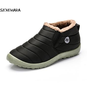 2017 Winter Warm Snow Boots Men Waterproof Ankle Boots Casual Fashion Men Fur Shoes Outdoor Flat Boot For Men
