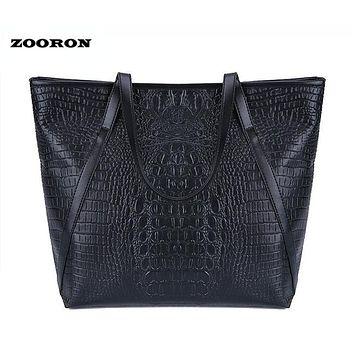 ZOORON Women Crocodile PU Leather Large Handbags Big Tote Bags for Ladies Women Single Shoulder Bags