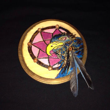 Steller's Jay Dream Catcher original pyrography/relief carving