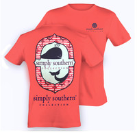 Simply Southern Whale Tee  - Coral