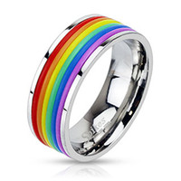 Stainless Steel Rainbow Striped Band Ring