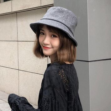 HT1910 New Autumn Winter Caps for Women Flat Top Wool Felt Women Hats Korea Style Casual Ladies Bucket Hats Panama Fishing Cap