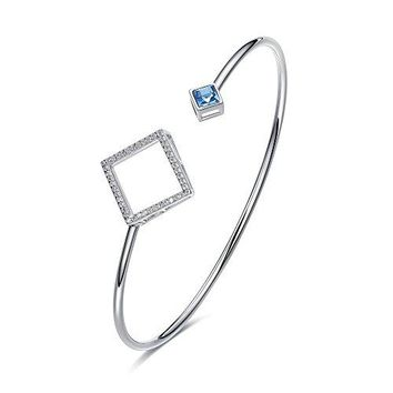 CDE Bracelets for Women Sterling Silver Swarovski Crystal Open Cuff Bangle Bracelet Smooth Hollow Hoop Gifts for Girls
