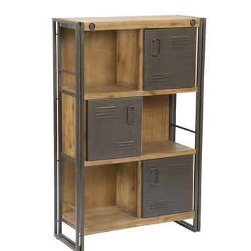 Brooklyn Shelf With Doors Large Acacia Wood Powder Coated Steel