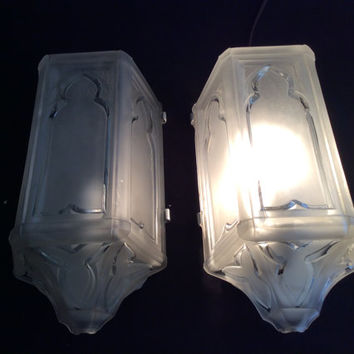 Vintage Antique Pair Art Deco Slip Shade Wall Sconces Complete with Holders 1920s