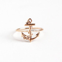 Antique 10k Rose Gold Ship Anchor Ring - Vintage 1910s Size 5 1/2 Edwardian Stick Pin Conversion Dainty Navy Fine Jewelry