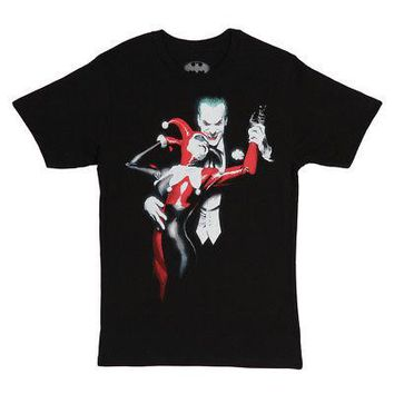 Joker & Harley Quinn Batman DC Comics Licensed Adult Unisex T-Shirt - Black