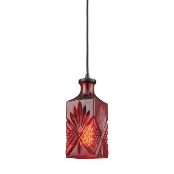 Giovanna 1 Light Pendant In Oil Rubbed Bronze With Wine Red Decanter Glass