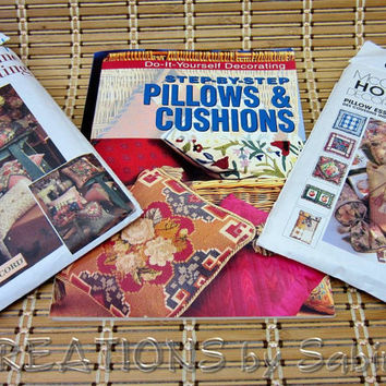 Pillows and Cushions Pattern & Book, Tutorial, Home Decorating Sewing Patterns, Step By Step, Do It Yourself