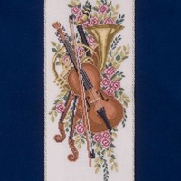 Violin Bell Pull with Ornate Brass Ends - One of a Kind Hand Stitched Keepsake - Music Lover Gift