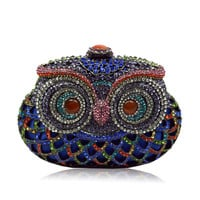 Handmade Colorful Crystal Owl Full Crystal Hollow Out Evening Clutch Bag