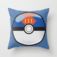 Blue Lure Pokeball Throw Pillow by Pi Design Prints