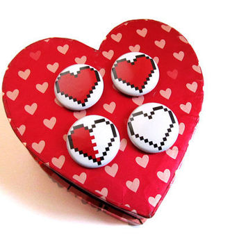 Pixel Heart Pinback Button Set