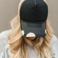 Vintage Distressed Baseball Hat - Black